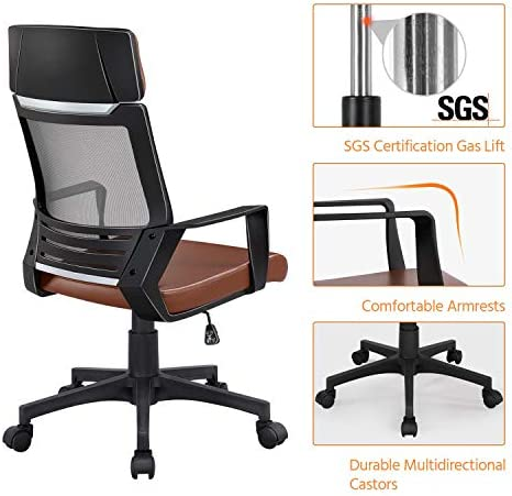 YAHEETECH Ergonomic Mesh Office Chair with Leather Seat, High Back Task Chair with Headrest, Rolling Caster for Meeting Room, Home Brown 516oP VSxEL