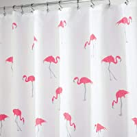 "mDesign Flamingo Fabric Shower Curtain - 72"" x 72"", Pink/Gray"