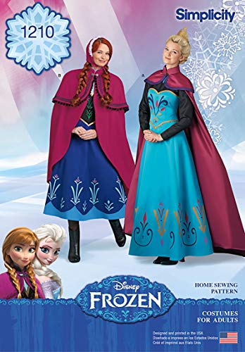 Simplicity 1210 Disney's Frozen Elsa and Anna Women's Halloween Costume Sewing Patterns, Sizes R5 (14-22) ()