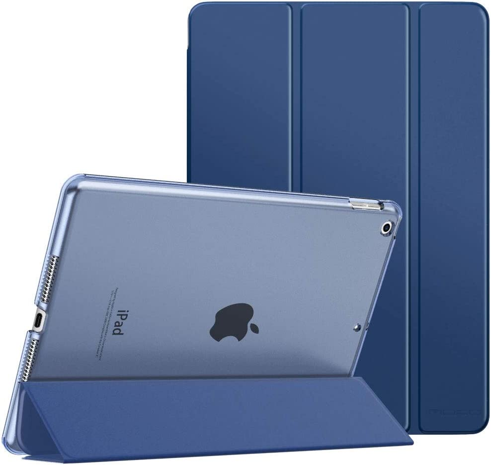 "MoKo Case Fit New iPad 8th Gen 2020 / 7th Generation 2019, iPad 10.2 Case - Slim Smart Shell Stand Cover with Translucent Frosted Back Protector for iPad 10.2"", Navy Blue(Auto Wake/Sleep)"