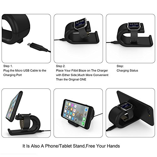 Fitbit Blaze Charger, YFFSUN Charger Clip Cradle Dock Micro USB Charging Station for Fitbit Blaze Smart Fitness Watch (black) by YFFSUN (Image #3)