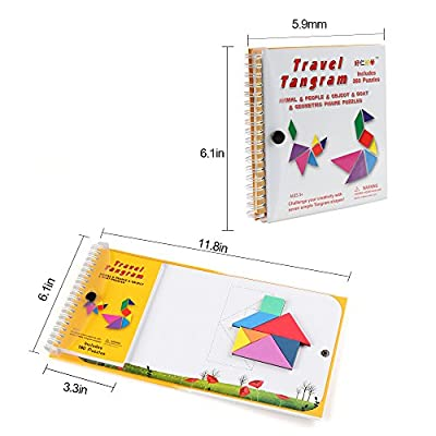 Coogam Tangram Magnetici Da Viaggio Tangrams Gioco Tangrams Jigsaw Shapes Dissezione Con La Soluzione Per Kid Adult Holiday Traveller Tangoes Challenge Iq Educational Toy 360 Patterns
