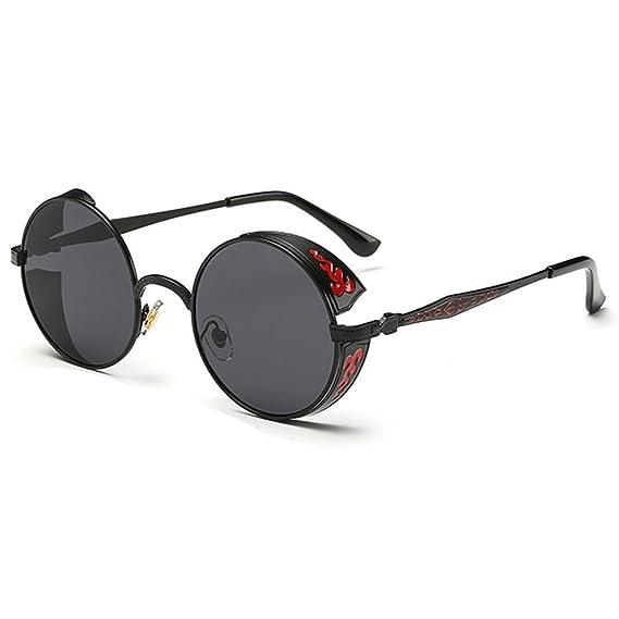 Highdas Mujer Hombres Cšªrculo lente gafas de vapor SteamPunk Ronda Metal gafas de sol C1: Amazon.es: Ropa y accesorios