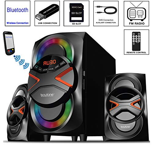 Boytone BT-326F, 2.1 Bluetooth Powerful Home Theater Speaker System, with FM Radio, SD USB Ports, Digital Playback, 40 Watts, Disco Lights, Full Function Remote Control, for Smartphone, Tablet. (Best Bluetooth Home Stereo)