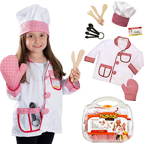 Tigerdoe Chef Costume Kids - Role Play Sets Kids w/ Case - Bakers Costume - Cooking Costume
