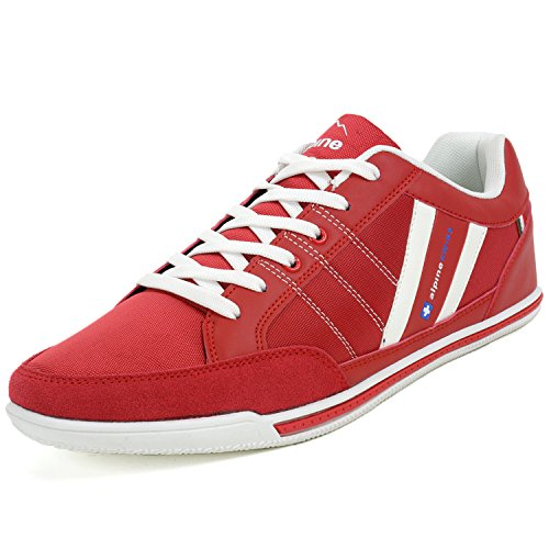 alpine swiss Mens Stefan Red Suede Trim Retro Fashion Sneakers 7 M US