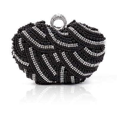 Damara Womens Luxury Special Crystals Beaded Pearl Clutch Bag,Black