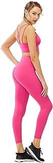 Soutien-gorge de sport pour femme Yoga deux pièces, solide rembourré pour femmes sport Cross Back High Impact Strappy Workout Running soutien-gorge de yoga avec taille haute pantalon de yoga élastique