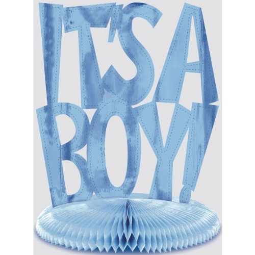 Boy Honeycomb Centerpiece - It's A Boy Foil Honeycomb Centerpiece