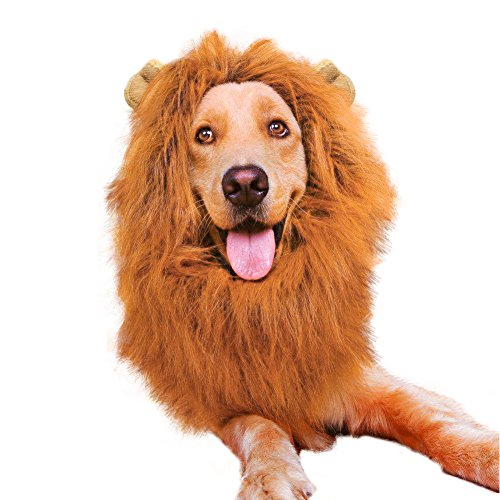 [Vivifying Lion Mane Costume, Adjustable Pet Lion Mane Wig with Ears for Medium and Large Dog] (Make Lion Costume For Dogs)