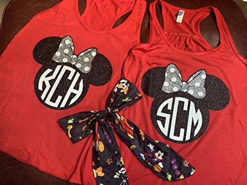 Handmade Disney Shirts with Bows ~Disney Halloween Shirts ~ Minnie and Minnie Me ~personalized ~ Disney Halloween Detachable Bow ~ Mickey's Not So Scary Halloween Party]()