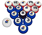 KANSAS JAYHAWKS NCAA Collegiate Billiards Pool Balls Sets College JAY HAWKS