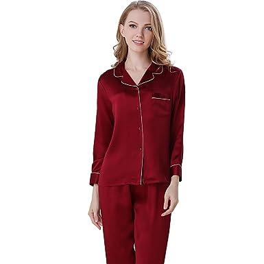Falaishuka Women s 100% Pure Silk Pajamas Set V Neck Long Sleeve Mulberry  Silk (Bordeaux 5e535940c
