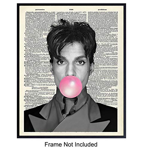 Original Prince Wall Decor Dictionary Art Print - 8x10 Contemporary Upcycled Bubble Gum Pop Art Home Decoration Poster - Cool Gift for Musician, 80
