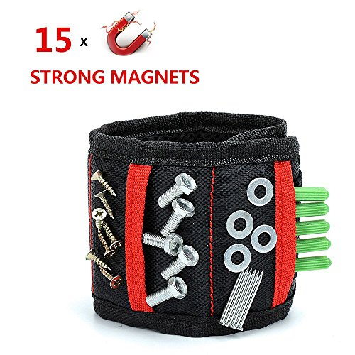 Magnetic Wristband 15 powerful magnets for holding Small Tools with Pockets, Unique Tool Gift for Men DIY Handyman Father/Dad Husband by REEXBON