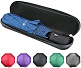 Vumos Umbrella With Waterproof Case - Automatic Open And Close With Rain Repellent Fabric And Windproof Fibreglass Ribs - Compact for Easy Travel - Color Navy Blue
