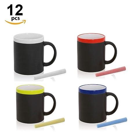 Home Fan Line - Tazas Pizarra para colorear con tiza, en caja de regalo (Varios Colores, Lote 12)