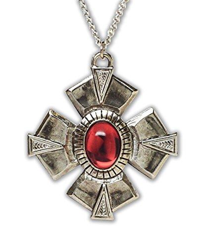 (Gothic Medallion Cross Medieval Renaissance Silver Finish Pendant)