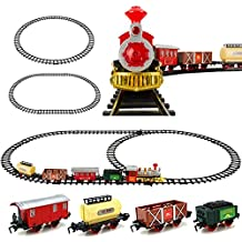 Christmas Classic Train Tack / Railway Train Set with Lights & Holiday Music / Perfect for Christmas Tree Decoration