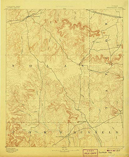 YellowMaps Sweetwater TX topo map, 1:125000 Scale, 30 X 30 Minute, Historical, 1893, Updated 1907, 19.9 x 16.4 in - Paper