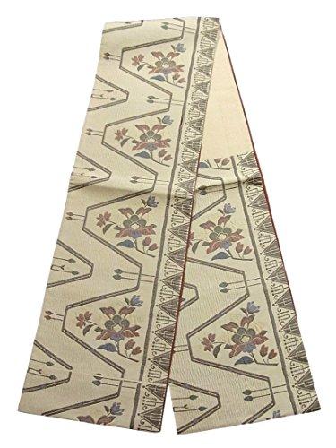 ゆるく笑いピンチリサイクル 袋帯 ふくれ織り 山路に唐花文 正絹 六通