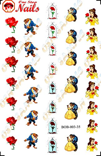 Disney Disney Beauty and the Beast Clear waterslide nail decals (Tattoo). Set of 35.