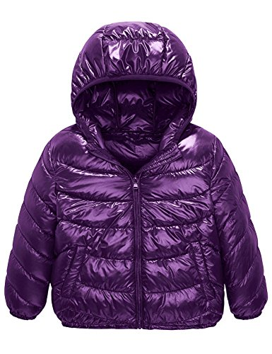 (Boys & Girls Ultra Light Down Packable Hooded Coat, Sleeved Outerwear Compact Windproof Puffer Jacket with Hood and Pockets (10-12Y, Purple))