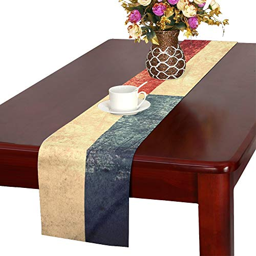 WUTMVING Flag Panama Panamanian Banner On Rough Table Runner, Kitchen Dining Table Runner 16 X 72 Inch for Dinner Parties, Events, Decor