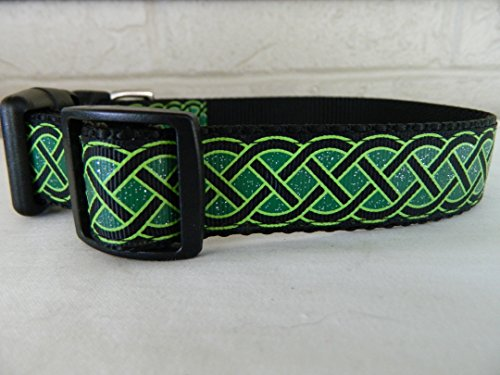 Schmoopsie Couture St Patrick's Day Black and Emerald Celtic Knots Dog Collar (Large (15