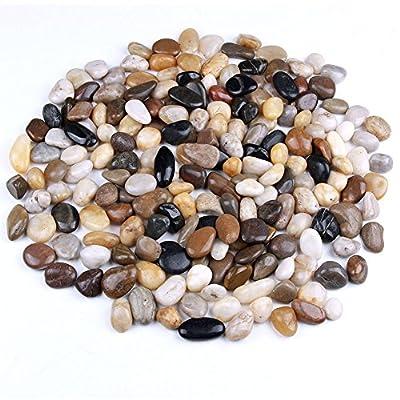 skullis 5 Pounds River Rocks, Pebbles, Garden Outdoor Decorative Stones, Natural Polished Mixed Color Stones