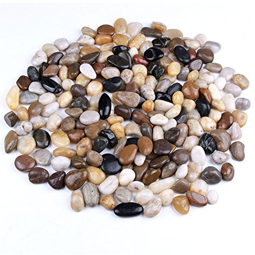 skullis 5 Pounds River Rocks, Pebbles, Garden Outdoor Decorative Stones, Natural Polished Mixed Color Stones (Stone Planters Garden)