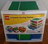 lego base tray - IRIS LEGO 3-Drawer Sorting System with Large Building Base Plate and 2 Removable Divider Trays