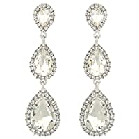 EleQueen Women's Silver-tone Austrian Crystal Tear Drop Pear Shape Long Earrings