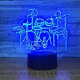 Cable Drum Coffee Table Cute Smart Touch Drum 7 Colors Remote Control Optical Illusion Night Light 3D Visualization Table Desk Lamps 3D Glow LED Lamp Art Sculpture Lights Lighting Effects Birthday