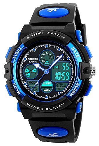 Fanmis Boys Analog Digital Sports Watch 24H Military Time Dual Time Quartz Waterproof LED Back Light with Simple Large Numbers 164ft 50M Water Resistant Calendar Day and Date Alarm Stopwatch (What Is A Calendar Day)