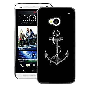 A-type Arte & diseño plástico duro Fundas Cover Cubre Hard Case Cover para HTC One M7 (Anchor Black White Minimalist Sailor)