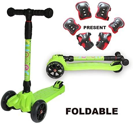 Easy_Way Kick Scooter for Kids Boys Girls Beginners 3 Wheels PU Light up Flashing Wheels 4 Adjustable Height with Brake Folding Scooter for Kids Age 3-12 Years Old with Gift Sports Protective