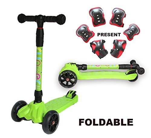 Old Folding - Easy_Way Kick Scooter for Kids Boys Girls Beginners 3 Wheels PU Light up Flashing Wheels 4 Adjustable Height with Brake Folding Scooter for Kids Age 3-12 Years Old with Gift Sports Protective (Green)