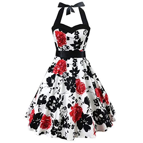 iLUGU Fashion Womens Sleeveless Vintage Dress Floral Bow Retro Ball Gown Swing Dress