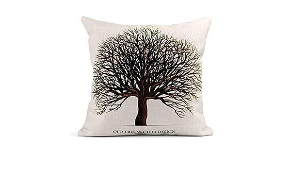 Cojín Silueta de árbol de Roble Rama Vieja Bosque Grande Cojín de ...
