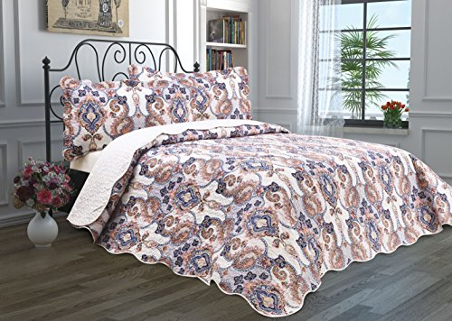 3 Piece Quilt Set with Shams Reversible Bedspread Matelasse Bedcover Double-Sided Bedding Coverlet Lightweight Comforter Linen Looking Luxurious Bed Cover (Paisley-Full-Queen) (Linen Bed Paisley)