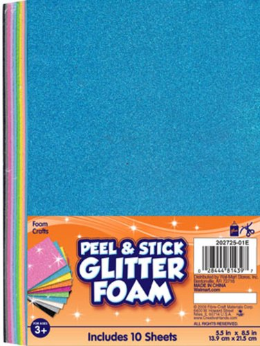 Fibre Crafts 202725 01E Creative Hands Glitter Foam Adhesive Sheets, Bright Colors - Fibre Craft Glitter Foam