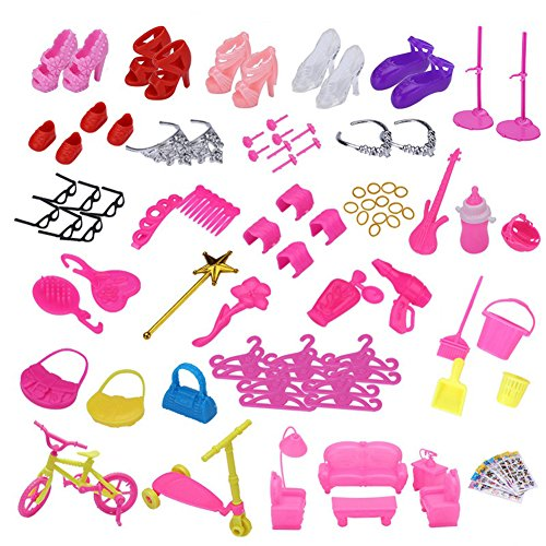 118pcs Doll Accessories for Barbie-10 Pack Doll Dresses Party Gown Outfits and 108pcs Shoes Bags Glasses Bicycle Hair Clips Tableware Hangers for Barbies Xmas Gift,Color Random