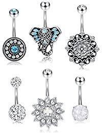 Stainless Steel Belly Button Rings For Women Teen Girls Tribal Elephant Head Navel Ring Opal Turquoise Piercing...