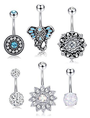 Thunaraz Stainless Steel Belly Button Rings for Women Teen Girls Tribal Elephant Navel Ring Opal Turquoise Piercing Rings 6PCS - Belly Button Ring Gem Tribal