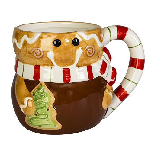 Gingerbread Man Holiday Character 12 Oz. Ceramic Dolomite Christmas Coffee Mug