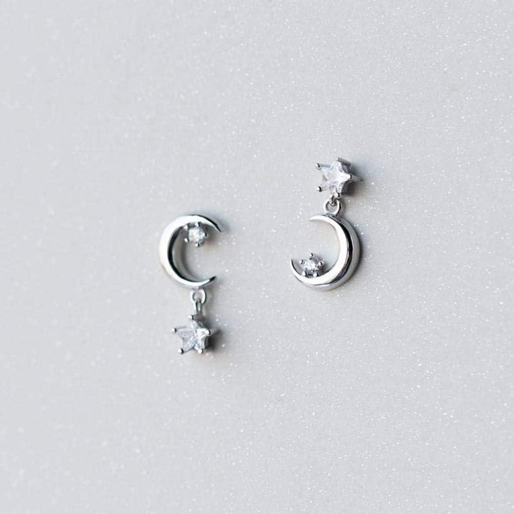 WOZUIMEI Pendientes de Plata S925 Pendientes de Diamantes con Forma de Estrella de Luna Dulce de Mujer Pendientes de Joyería Joyería Simple Asimétrica CortaPendientes de plata S925