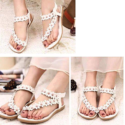 Sandalias Bohemia,Xinantime Espina de pescado zapatos de las sandalias Blanco
