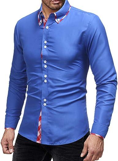 LYLXS Camisa Hombre, Manga Larga, Slim Fit, Camisa Elástica Casual/Formal para Hombre: Amazon.es: Ropa y accesorios