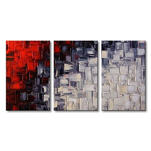 (Extra Large Handmade Red and White Abstract Canvas Wall Art Modern Contemporary Acrylic Painting)